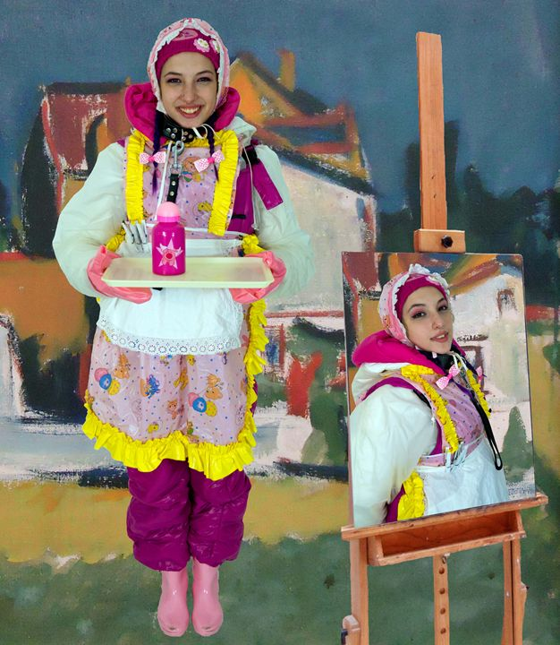 painting in painting - maids in plastic clothes