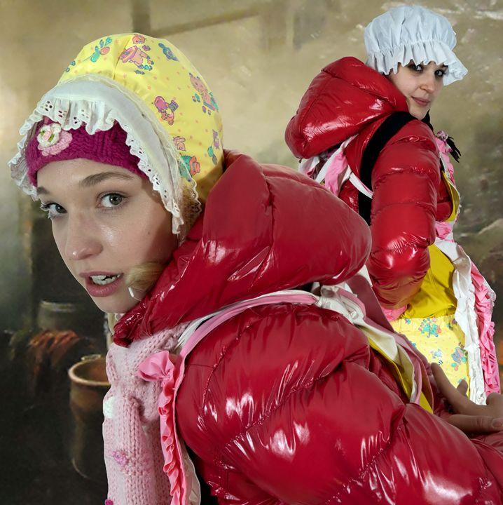 washerwomen - maids in plastic clothes