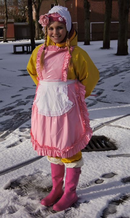 girl in snow - maids in plastic clothes
