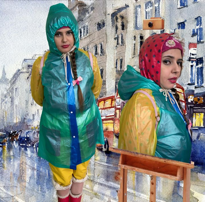 beautiful girl in green raincoat - maids in plastic clothes