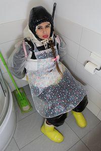 توالت تمیز می شود