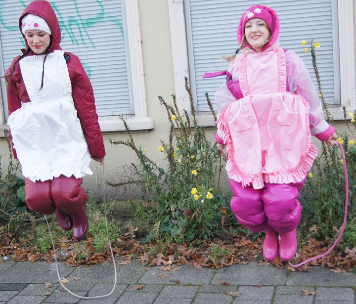 Well done, girls! - maids in plastic clothes