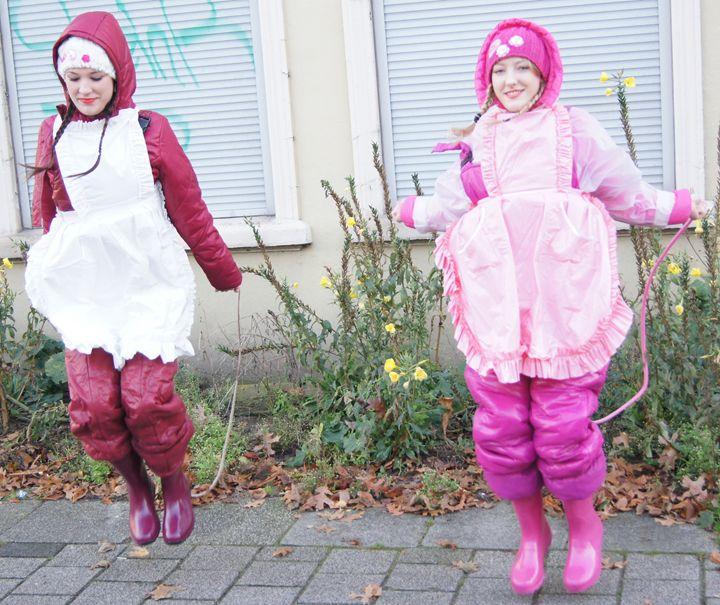 Diligent practice! - maids in plastic clothes
