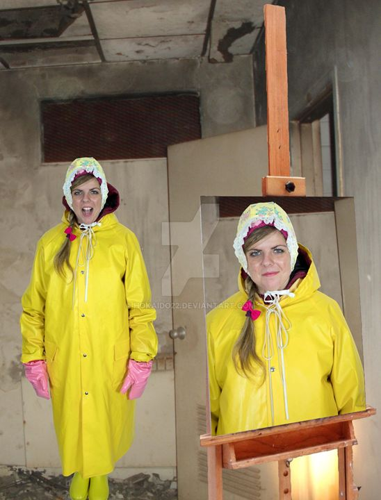 packedin yellow oilskin - maids in plastic clothes