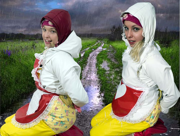 sistermaids on a muddy way - maids in plastic clothes