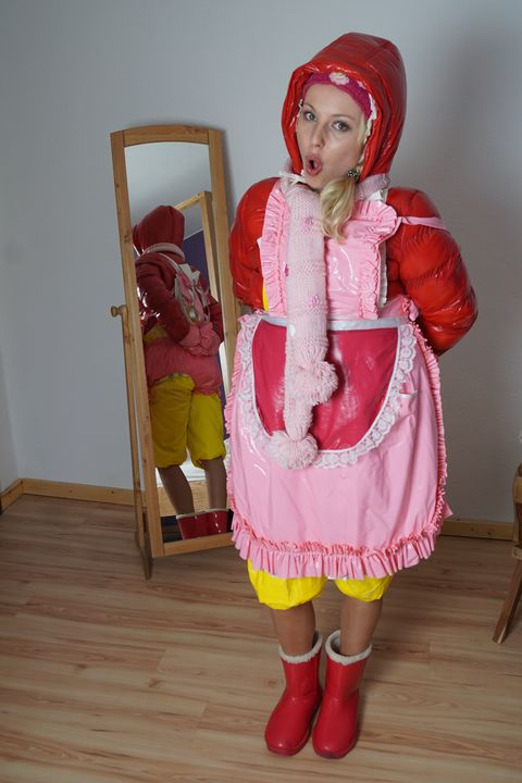 the rubber whore is ready for duty - maids in plastic clothes