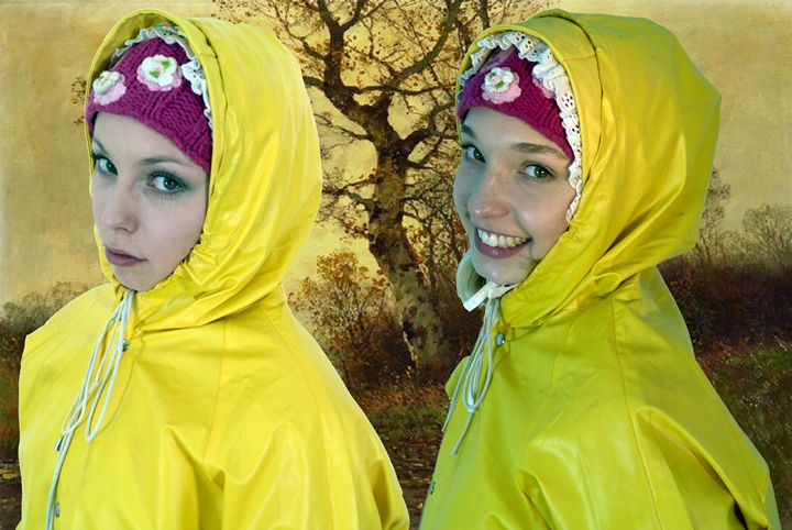 cute sisters in yellow raincoats - maids in plastic clothes