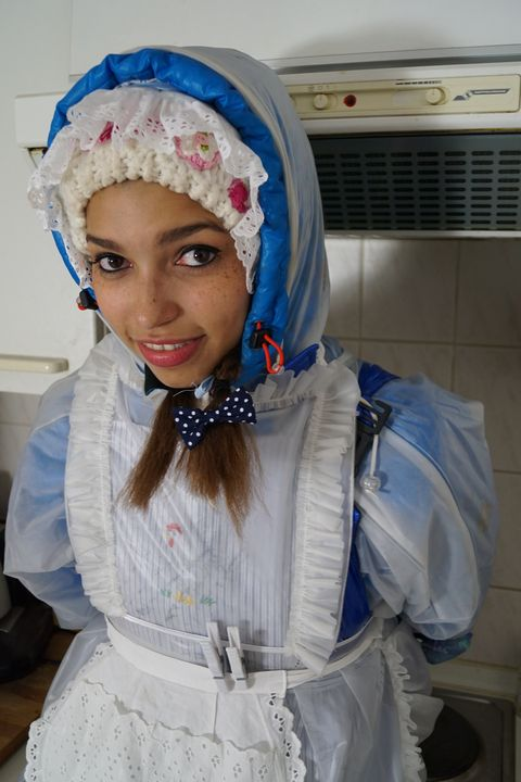 Such a cute rubber whore! - maids in plastic clothes