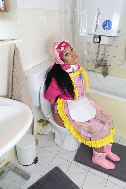 beautiful toilet rubber whore - maids in plastic clothes