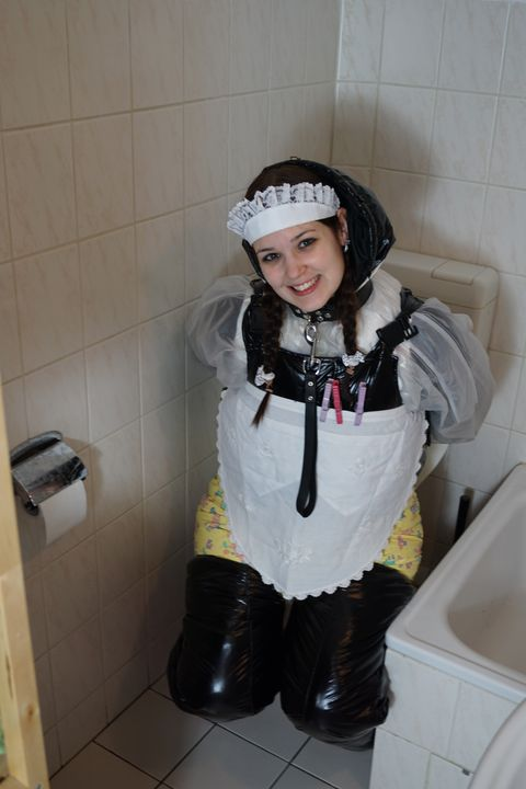 the smiling diaperwhore - maids in plastic clothes