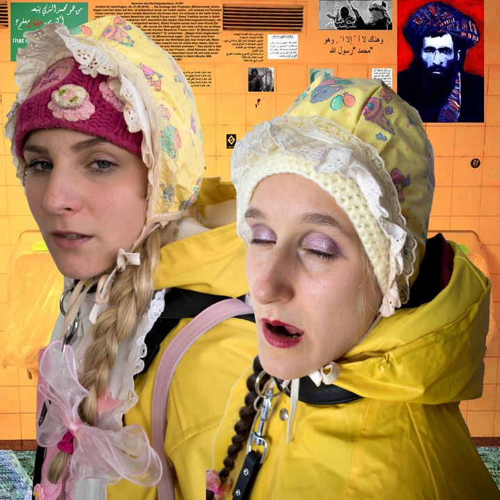 2 beautiful whores in rubber burqa - maids in plastic clothes