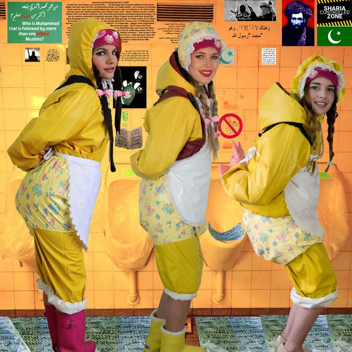 teens in Friesennerz Burka - maids in plastic clothes