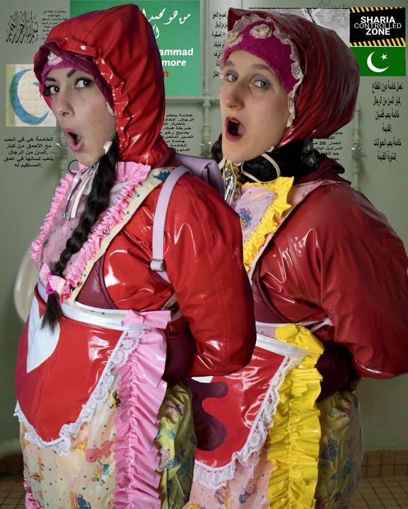 Dhimmi Gumminutten beim Anschaffen - maids in plastic clothes