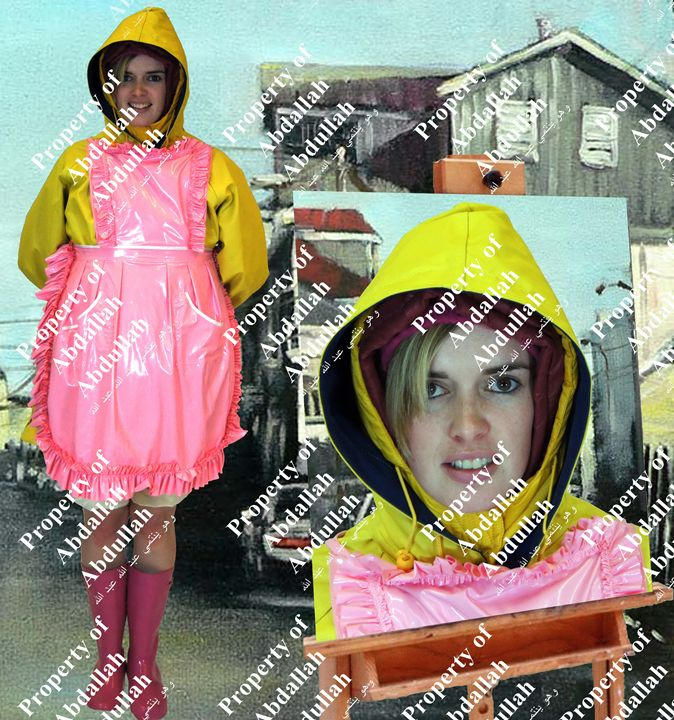 maid with yellow oilskins - maids in plastic clothes