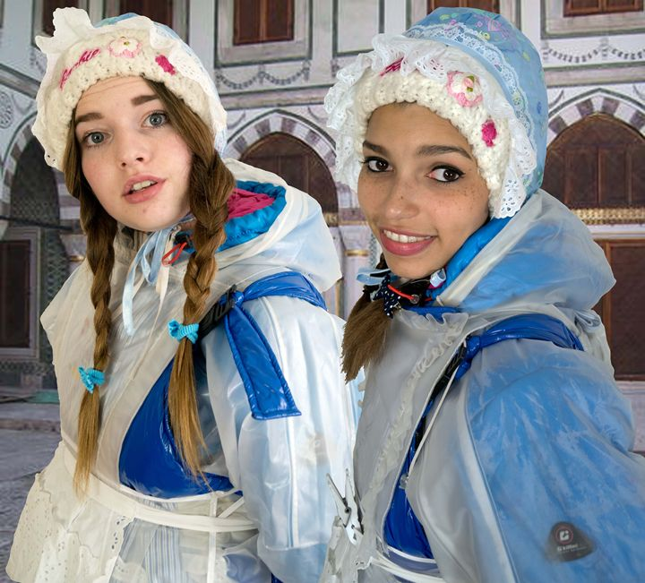 blue maids in Orient - maids in plastic clothes