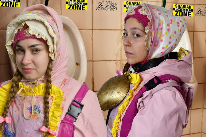 2 toiletwhores welcome refugees - maids in plastic clothes