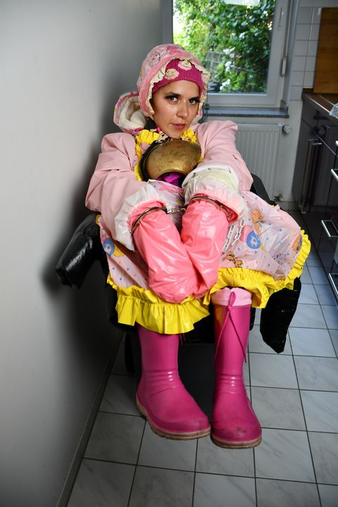 white trash german girl Fenneke - maids in plastic clothes