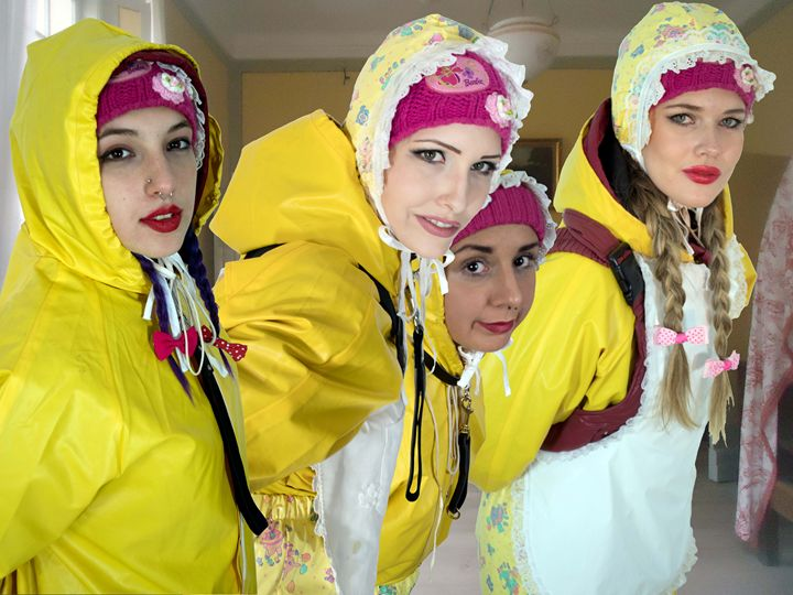 frenchmaids ready for duty - maids in plastic clothes