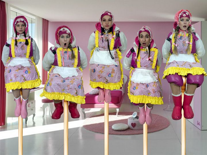 barbiedolls on pales - maids in plastic clothes