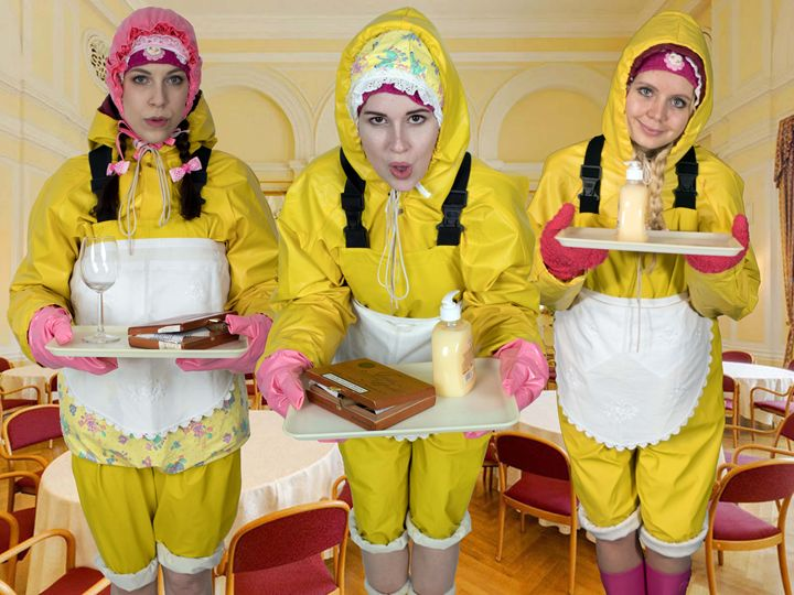 waitresses on duty - maids in plastic clothes