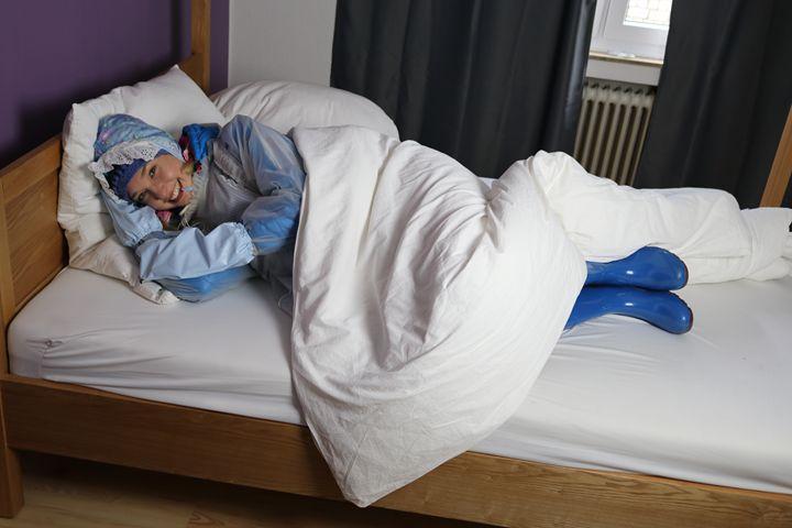 maid dermapadrusnika white blue - maids in plastic clothes