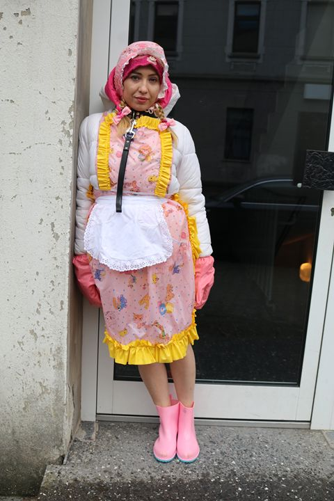 maid minjeta at work - maids in plastic clothes