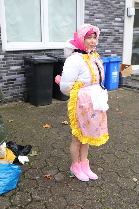 maid minjeta working - maids in plastic clothes