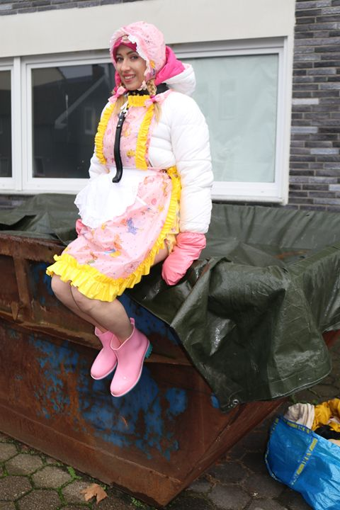 """maid minjeta says; """"Welcome!"""" - maids in plastic clothes"""