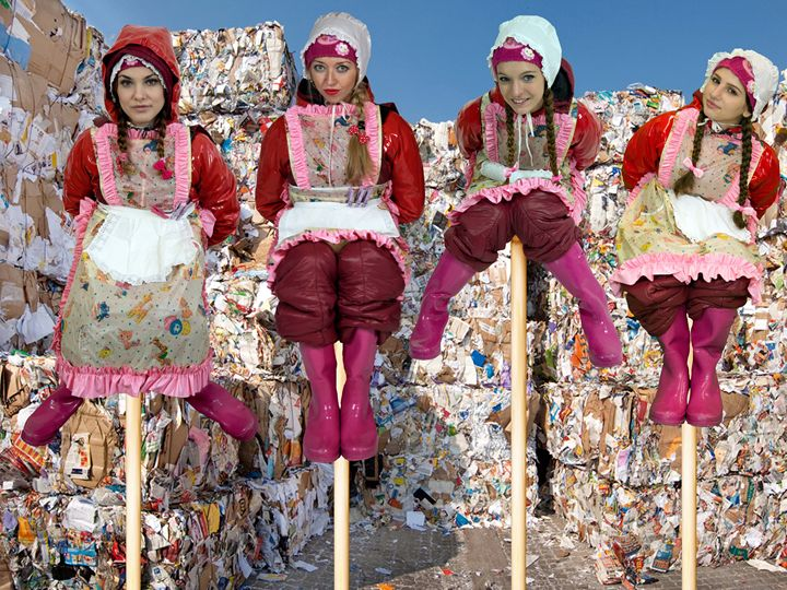maids decorating waste disposal - maids in plastic clothes