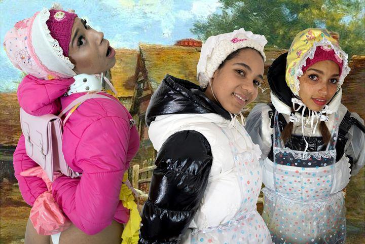three peasant maids - maids in plastic clothes