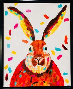 Abstract Bunny Framed Original Art