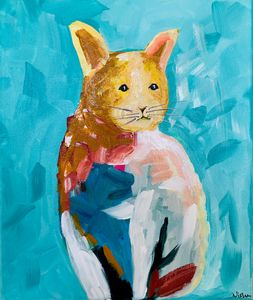 Abstract Cat Painting