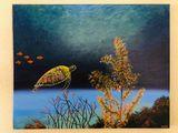 Acrylic art hand painted turtle