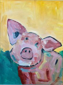 Sweet little piggy! Acrylic art