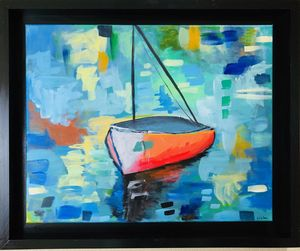 Framed Abstract boat art