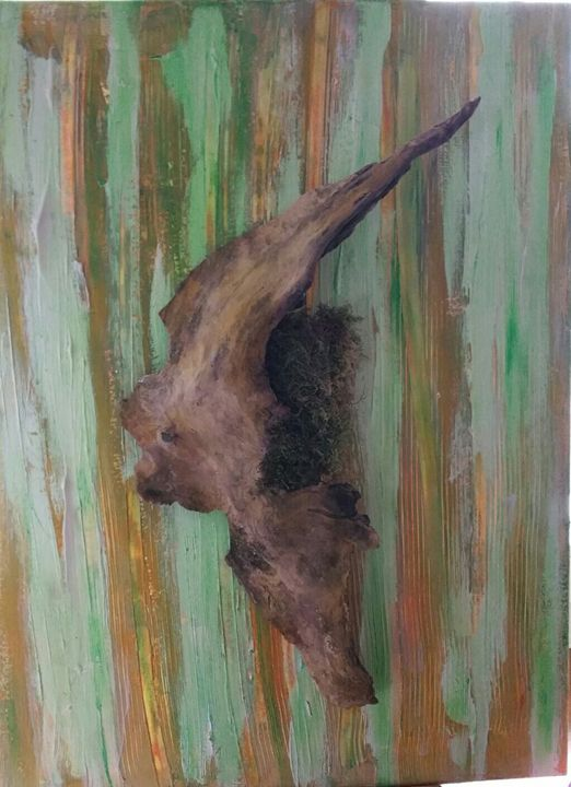 Boomerang Driftwood on Canvas 002004 - Art by Nazarine