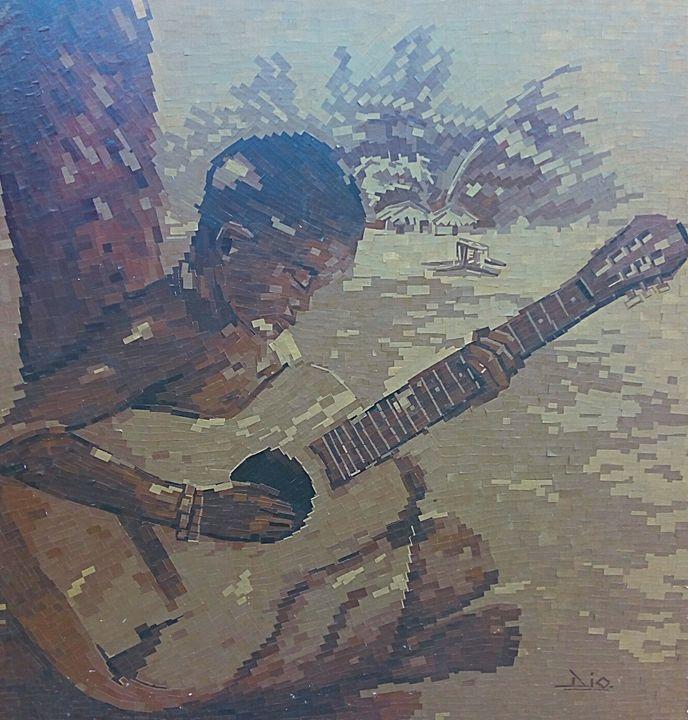 Broken Guitar paper collage - Art Of Dio