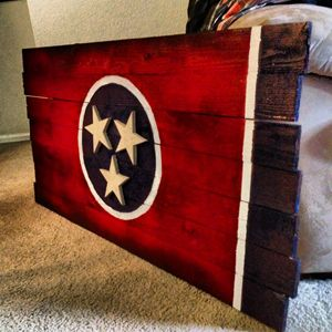 Wooden Tennessee State Flag