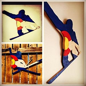 Hand Cut Wood Skier and Snow Boarder