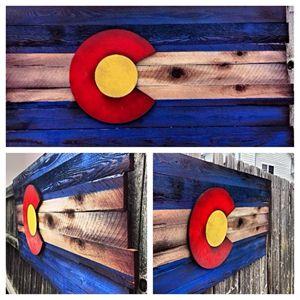Wood Colorado Flag