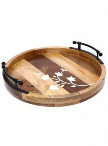 Wood And Metal Tray Clove And Dawn C - Wowtrendy