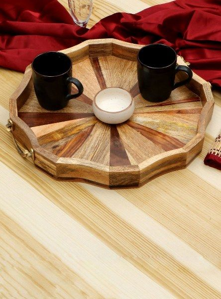 Wood And Metal Tray Sandstone - Wowtrendy