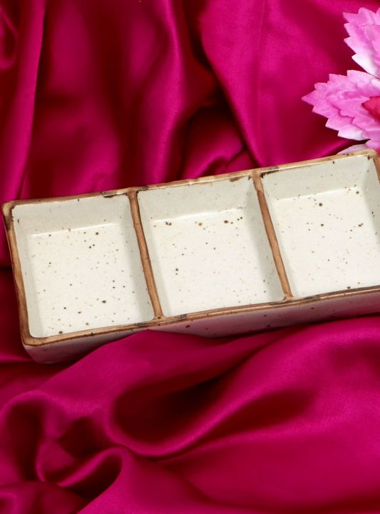 Ceramic Tray Blanched Almond Color - Wowtrendy