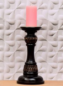 Wooden Candle Stand Black Coffee - Wowtrendy