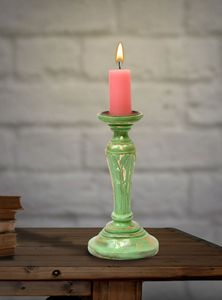 Wooden Candle Stand Paradise Green - Wowtrendy
