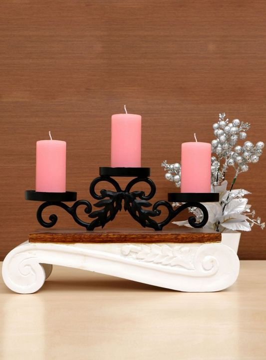 Wood And Metal Candle Stand - Wowtrendy