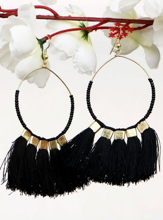 Handmade Artificial Earrings Black - Wowtrendy