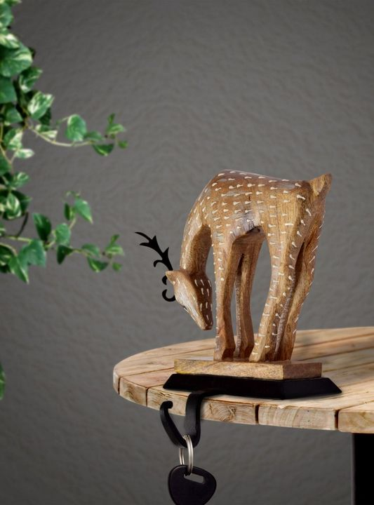 Wood And Metal Key Stand Sandstone - Wowtrendy