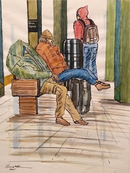 Two Homeless Men In the Subway - Miracle Art Gallery