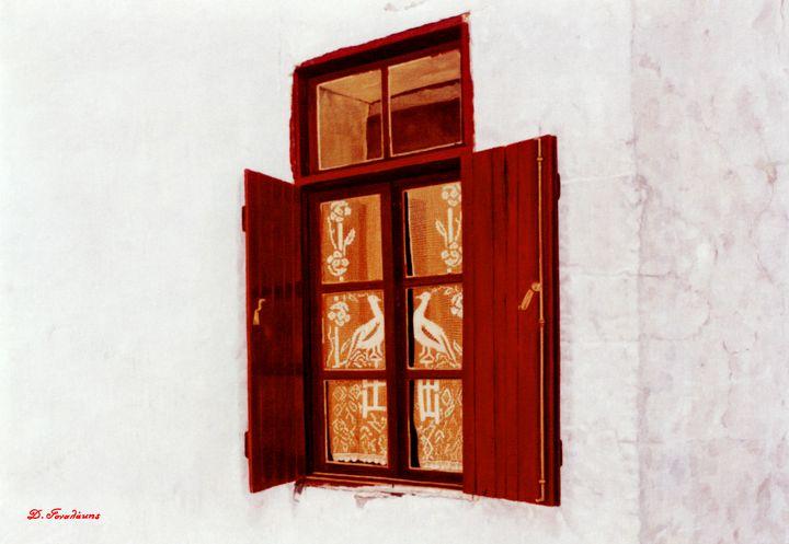 Window with Peacocks - Gonalakis Art